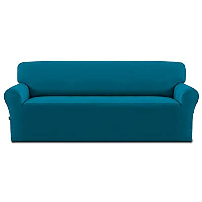 Easy-Going Fleece Stretch Sofa Slipcover – Spandex Non-Slip Soft Couch Sofa Cover, Washable Furniture Protector with Anti-Skid Foam and Elastic Bottom for Kids, Pets(Sofa,Peacock Blue)