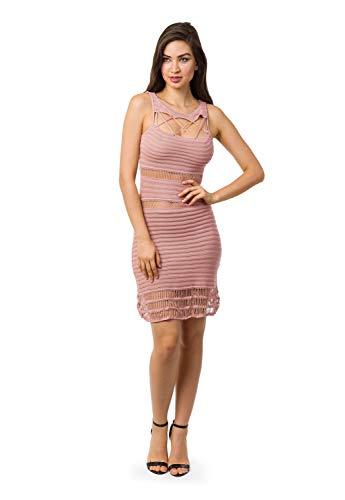 Vestido Bella Store De Tricot Curto Cordão Recortes Vazados Feminino (Rosa Claro, M)