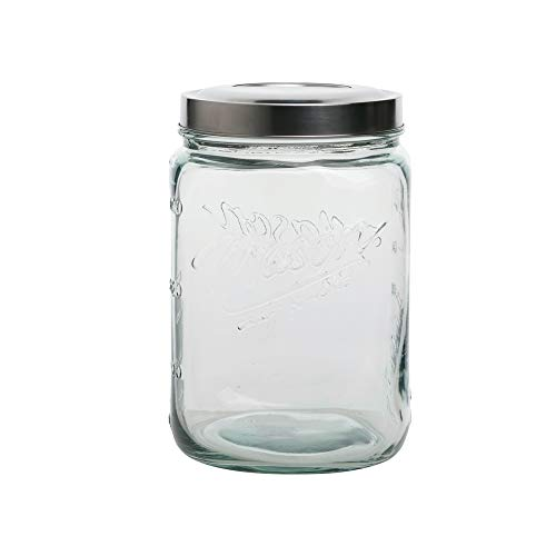 Mason Craft & More Airtight Kitchen Food Storage Clear Glass Pop Up Lid Canister, Large 3.6 Liter Pop Up Canister
