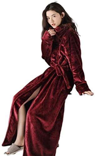 WXHHH Coral Fleece Accappatoio/Vestito da Donna Lussuoso Accappatoio Accappatoio Wrap Vestaglia Accappatoio Caldo Morbido E Accogliente Vestaglia Loungewear,Rosso,M