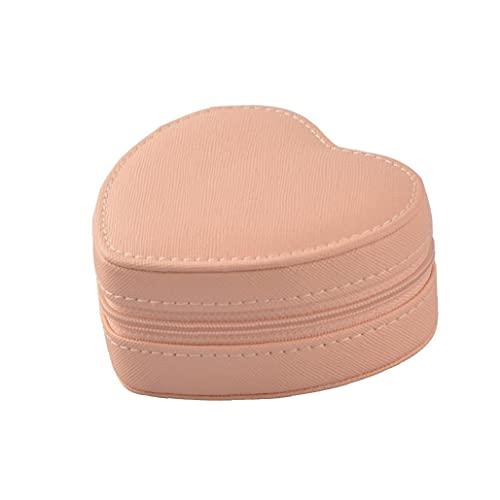 En forma de corazón de la joyería Caja de almacenamiento portátil caja de collar de anillos aretes joyería Organizador almacenaje de la exhibición del organizador del caso de muchachas de las mujeres