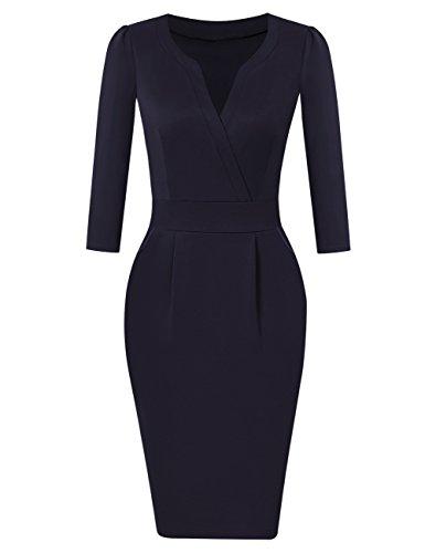 KOJOOIN Damen Elegant Etuikleider Knielang Langarm Business Kleider Blau Dunkelblau M
