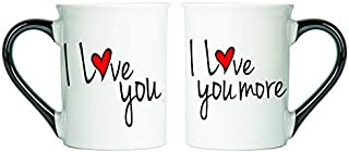 Cottage Creek Couple Gifts Set of Two I Love You I Love You More Coffee Mugs/His Her Mugs Engagement Gifts Couples Cups [White]