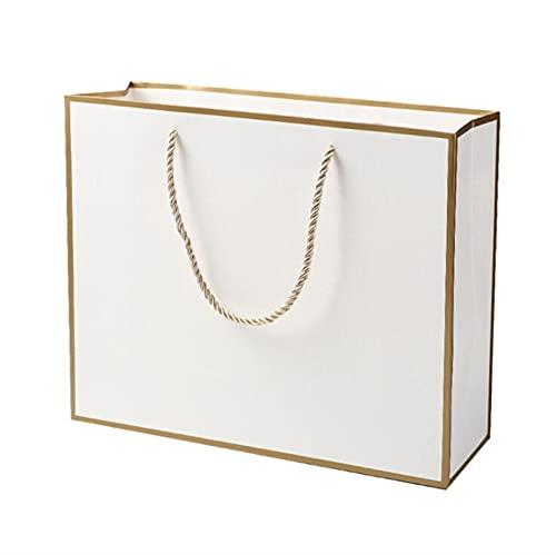 MVAOHGN 10pcs / Lote Bolso de envasado de Papel Kraft Blanco Grande, Bolsa de Papel de Regalo de Ropa pequeña pequeña Bolsa de Compras de Papel Negro (Color : Style D, Gift Box Size : 32x25x11cm)