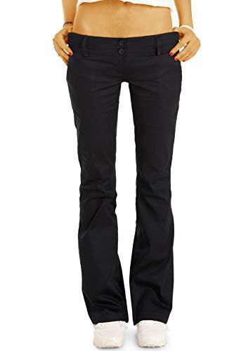 bestyledberlin BE Styled Damen Chinos - Stoffhosen - Bootcut Hüfthosen mit Stretch h17a 38/M schwarz