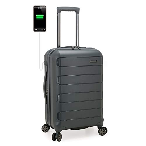 Traveler's Choice Pagosa Indestructible Hardshell Expandable Spinner Luggage, Gray, Carry-on 22-Inch