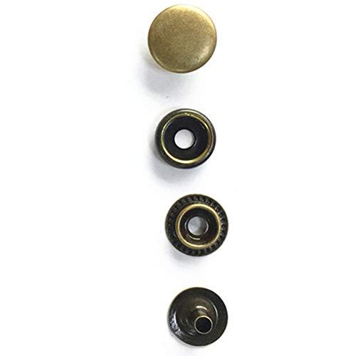 Juego de 25 broches de metal para bricolaje, hebilla incrustada, remache, herramienta de cuero, tachuelas, decoración de latón, ropa, costura, manualidades, 15 mm (dorado)