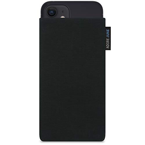 Adore June Classic Schwarz Tasche kompatibel mit iPhone 12 Mini Handytasche aus widerstandsfähigem Cordura Stoff mit Display Reinigungs-Effekt, Made in Europe