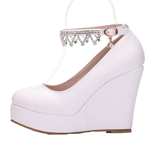 Zapatos Mary Jane para Mujer, Plataforma con Correa en el Tobillo, Tacones Altos, Tacones de Cristal a la Moda, Zapatos de Vestir de Oficina con Punta Redonda