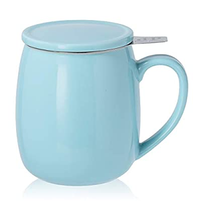 Peacehome Tea Cup Infuser Lid: 17.5 OZ Large Ceramic Tea Mug with Strainer & Cover for Steeping Cup of Hot Tea or Coffee - Fine Porcelain Infuser Tea Mug Set for Work Life Gift (Turquoise)