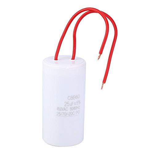 Condensador de arranque, CBB60 Inserte el condensador de arranque 25uF 450VAC para el hogar aplicable a la reparación de muchos tipos de pequeños electrodomésticos 25/70/-20