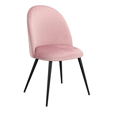 VERDELZ Set of 2 Exquisite Velvet Dining Ear Chair, Kitchen/Bedroom/Lounge Chair with Metal Wood Grain Color Legs, Pink C