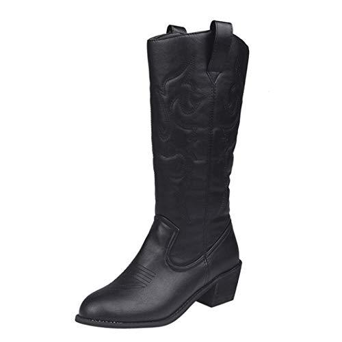 Frauen Stiefel Square Heel Slip-on Fashion Europäischen Stil Winterstiefel Warm halten rutschfeste Leder Schnittmuster Mittlere Waden Stiefel