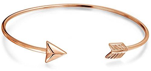 Minimalistische Liebe Pfeil Tipps Armreif Armband Für Damen Für Jugendlich Rose Vergoldet Sterling Silber 925