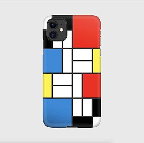 Mondrian cover per iPhone 12mini, 12, 12 pro, 12 pro max, 11, 11 pro, 11 pro max, XS, X, X max, XR, SE, 7+, 8, 7, 6+, 6, 5