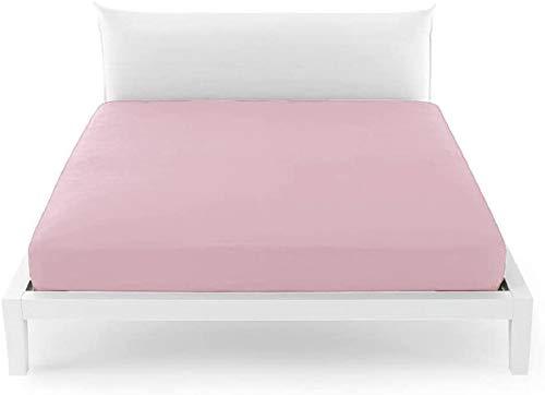 BASSETTI - Sábanas matrimoniales Bassetti, sábana bajera con esquinas para cama de matrimonio Bassetti 175 x 200 cm | Sábana de algodón Bassetti | 100% algodón, Made in Italy | Col. P5 – Rosa
