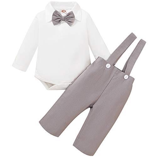 Baby Boys Formal Outfits Set Gentleman Bowtie Long Sleeve Romper+Overalls Bib Pants Suspender Tuxedo Clothes (Khaki, 12-18 Months)