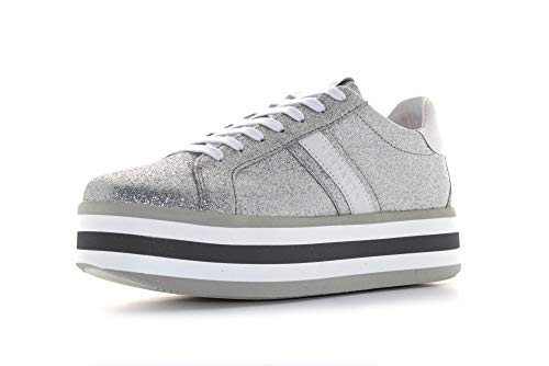 Apazza S0ICIWPLUS01/GLT Dames Sneaker IMMA Leather Glitter en Platform Bodem 5 cm (39 - Zilver)