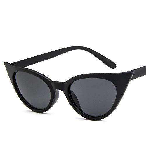 YOULIER Gafas de sol vintage ojo de gato mujeres ojo de gato tendencia compras al aire libre Glassesuv400 BlackGray(S)