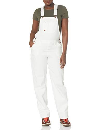 Dickies Women's Bib Overall 100% Cotton Denim with ScuffGard, White, Large