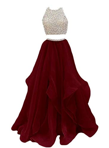 VinBridal 2019 Two Piece Beaded Floor Length Organza Evening Gown Prom Dresses Burgundy 2
