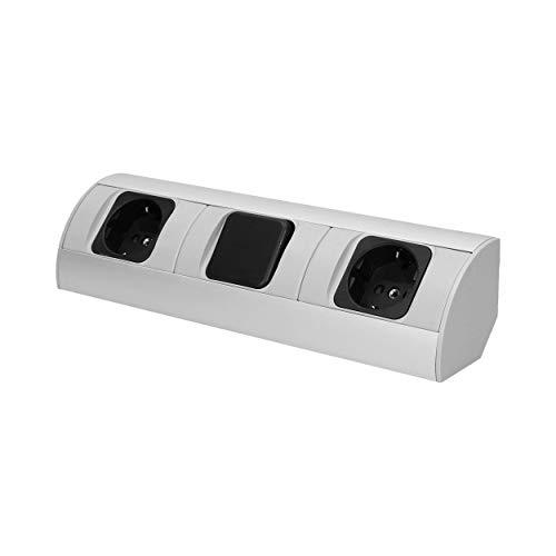 Orno AE-1304 (GS) hoekstopcontact keuken met schakelaar 2-voudig, 3680 W