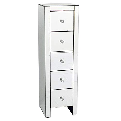ASSR Glass Mirror Cabinet Tall Cabinet with Five Drawer,Mirrored Nightstand Bedside Table for Bedroom,Silver Sofa Side Table for Living Room