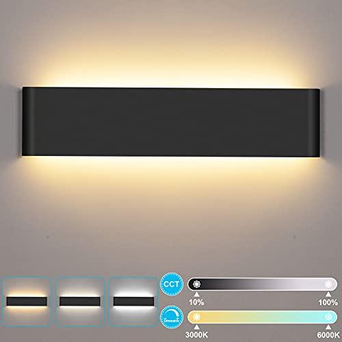 LUTDK 24W Apliques Pared Interior con control remoto, 2200LM apliques pared led 3000-6000K Temperatura de color y brillo ajustables Lámparas de Pared blanco Modernos(40CM)