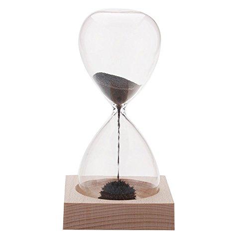 SODIAL(R) 1pcs Hourglass magnetique /Hourglass Aimant souffle a la main minuterie Decoration de table/ bureau Cadeau Original noir