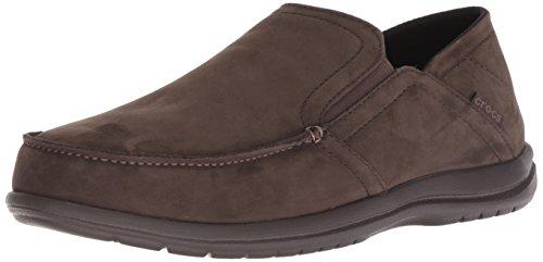 Crocs Men's Santa Cruz Convertible Leather Slip-On Loafer Flat, Espresso/Espresso, 12