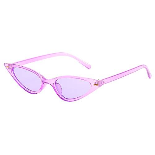 RISTHY Gafas de Sol Unisex Ojos de Gato Lentes Transparentes Teñidas Montura Pequeña Marco de Plástico Retro Moda Protección UV400 Radiación para Mujeres y Hombres