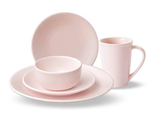 Anfora Vajilla Soft Pink Rosa Mate de Porcelana 20 Piezas, Color Rosa Mate, Para 4 personas, Resistente a Horno de Microondas y...