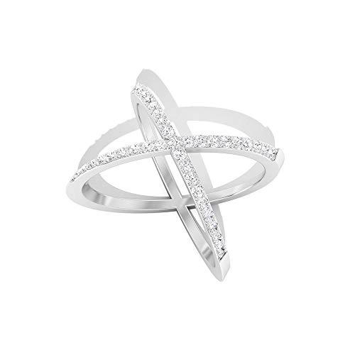 IGI zertifizierter Diamant Crossover-Ring, zierlicher Criss Cross X Ring, HI-SI Farbe Klarheit Diamant Ewigkeitsring, Jahrestag Valentinstag Geschenk, 10K Weißes Gold, Size:EU 48
