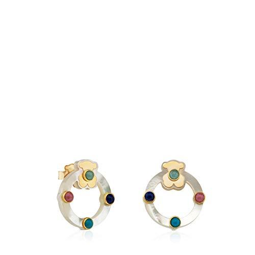 Super Power Ohrringe aus Gold und Perlmutt mit Edelsteinen