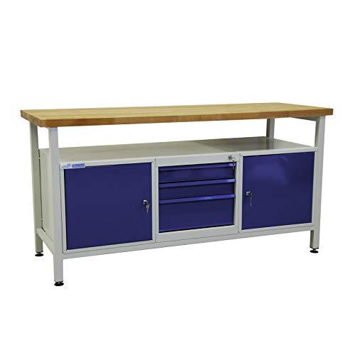 ADB Werktisch Werkzeugtisch Werkbank Arbeitstisch mit 2 Türen und 3 Schubladen Werkstatteinrichtung...
