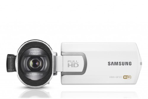 Samsung HMX-QF30 Full HD Camcorder (5 Megapixel, 20-fach opt. Zoom, 6,9 cm (2,7 Zoll) LCD-Display, WiFi) weiß