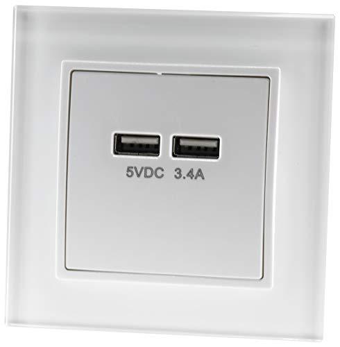 UP kristalglas USB-doos 2-voudig 5V 3,4A - all-in-one - frame + inbouwinzet + afdekking - wit
