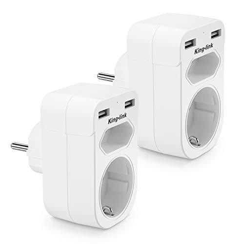 Enchufe USB Pared,KingLink Ladron Enchufes con Doble USB (2.4A) y 2 Tomas de CA,4 en 1 Cargador USB Enchufe Multiple Adaptador para Hogar Oficina, Diseño Compacto, Blanco-2Pack