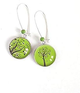 Orecchini Cabochon asimmetrici, Albero della Vita, toni del verde primavera