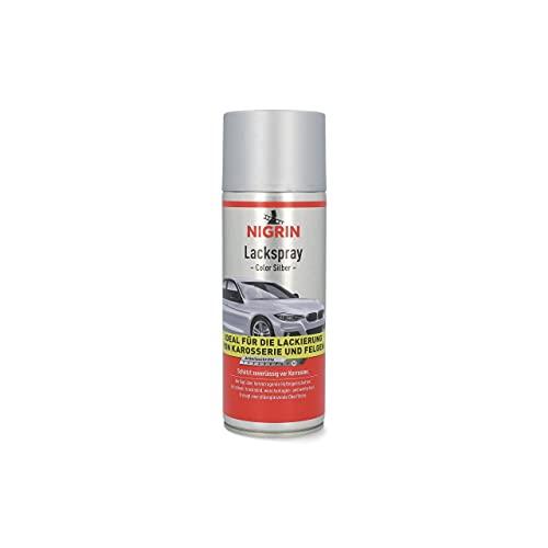 NIGRIN 74110 Lackspray, Autolack Silber, 400 ml, schützt Felgen und Karosserie vor Rost, schnell trocknend
