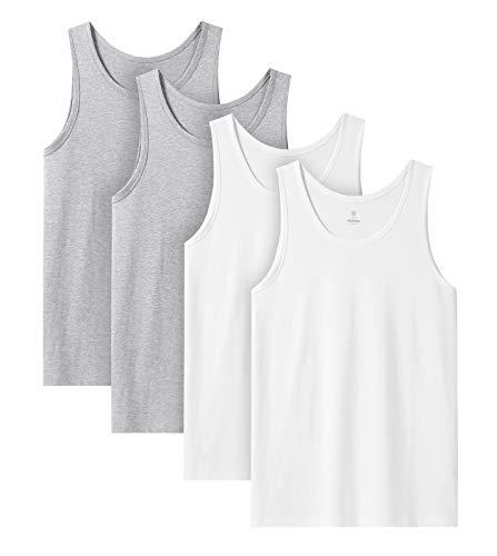 LAPASA Camiseta de Tirantes Hombre de Algodón Puro, Camiseta Interior Masculino Pack de 4 Algodon 100% (Gris: 90%, 10% Viscosa/Rayón) M36