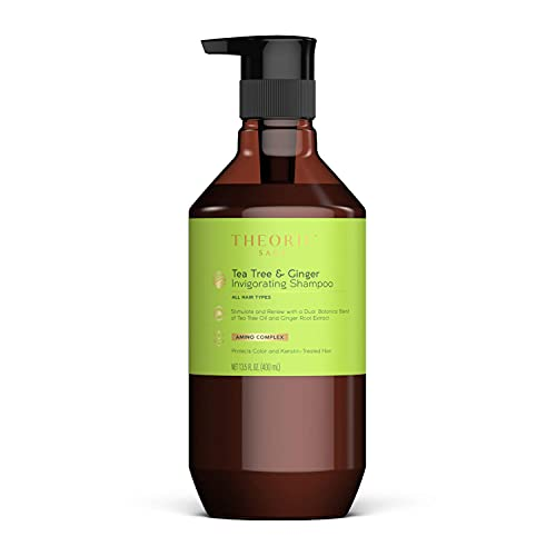 THEORIE Tea Tree and Ginger Invigorating Shampoo - Stimulate & Renew with Natural Shine and Resilience - Suited for All Hair Types - Protects Color and Keratin Treated Hair, Pump Bottle 400mL