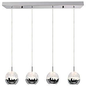 Hykolity Pendant Light, 4 Light Integrated LED Kitchen Lighting, Premium Bubble Glass with Chromed Finished, 4000K, 26W (150 Watt Equivalent), CRI 90+, 1950lm, ETL Listed