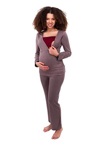 Herzmutter Stillpyjama-Umstandspyjama - Zweifarbiger Schlafanzug für Damen - Nachtwäsche für Schwangerschaft-Stillzeit - Pyjama-Set mit Stillfunktion - Lang-Langarm - 2700 (S, Taupe/Dunkelrot)