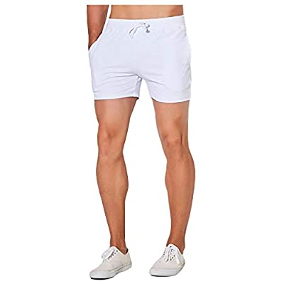 Nutriangee Men's Cotton Pajama Lounge Sleep Shorts Running Workout Athletic Drawstring Yoga Bottoms White, Large