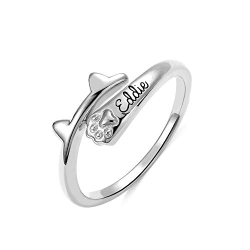 AILIN Jewelry 925 Sterling Silver Personalized Bone Shaped Name Ring Paw Printed Halo Dainty Ring Puppy Jewelry Pet Lover Rings