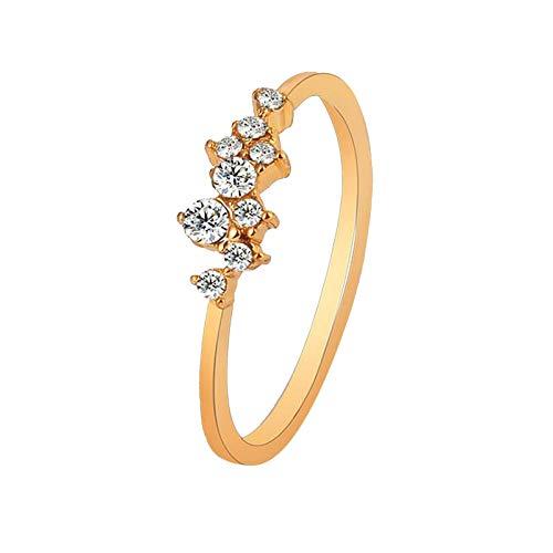 Accesorio, Anillo de Diamantes Chapado en Oro de 18 Quilates con Nueve Diamantes para Damas, Ropa, Zapatos y Accesorios (UNA 1.98cm)