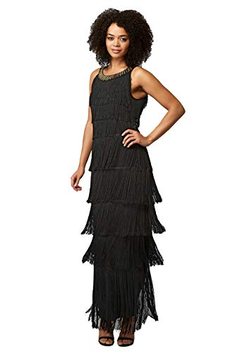 Roman Originals Women Sequin Round Neckband Fringe Maxi Dress - Ladies Evening Special Occasion Party Diamate Embellished Sleeveless Flapper Long Full Length Ball Gown Dresses - Black - Size 18