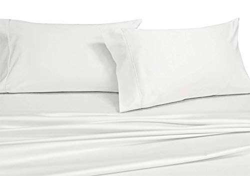 Royal Tradition Solid 600 Thread Count, 100-Percent Cotton Split King Sheets for Adjustable Beds Set (White) Breathable, Deep Pocket, 5 Piece Sheet Set