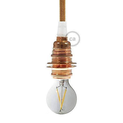 creative cables Kit portalampada E14 in Metallo con Doppia ghiera per Paralume - Conico, Rame